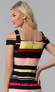 Image of knee-length striped cold-shoulder career dress. Style: ECI-719238-75779 Detail Image 2