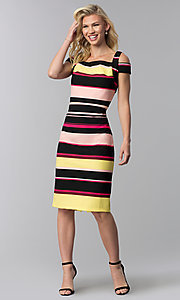 Image of knee-length striped cold-shoulder career dress. Style: ECI-719238-75779 Detail Image 3