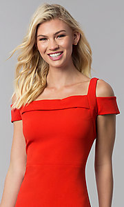 Image of cocktail party knee-length cold-shoulder red dress. Style: ECI-719238-7197 Detail Image 1