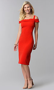 Image of cocktail party knee-length cold-shoulder red dress. Style: ECI-719238-7197 Detail Image 3
