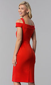 Image of cocktail party knee-length cold-shoulder red dress. Style: ECI-719238-7197 Back Image