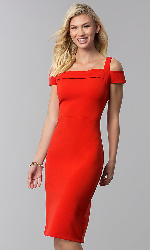 Image of cocktail party knee-length cold-shoulder red dress. Style: ECI-719238-7197 Front Image