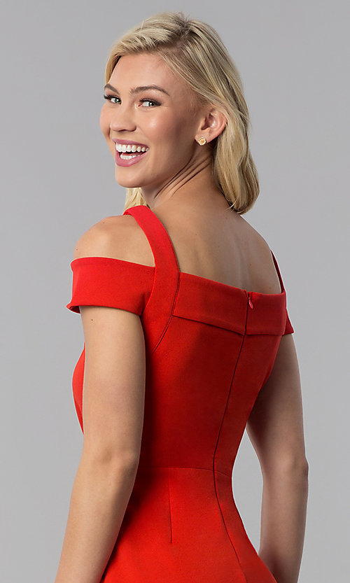 Image of cocktail party knee-length cold-shoulder red dress. Style: ECI-719238-7197 Detail Image 2
