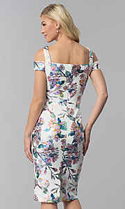 Image of knee-length floral-print sheath wedding guest dress. Style: ECI-719859-75888 Back Image