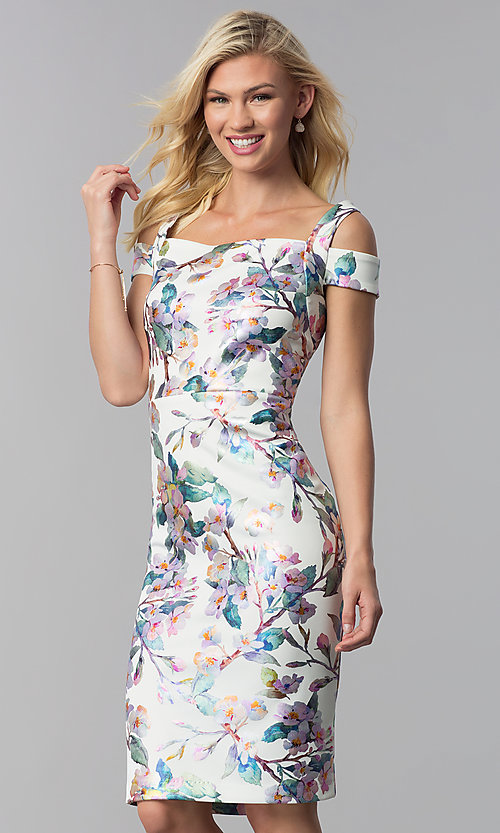 Image of knee-length floral-print sheath wedding guest dress. Style: ECI-719859-75888 Front Image