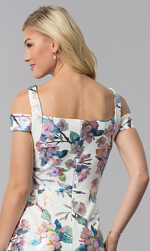 Image of knee-length floral-print sheath wedding guest dress. Style: ECI-719859-75888 Detail Image 2