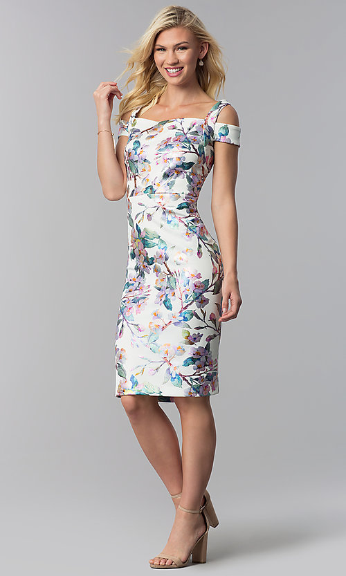 Image of knee-length floral-print sheath wedding guest dress. Style: ECI-719859-75888 Detail Image 3