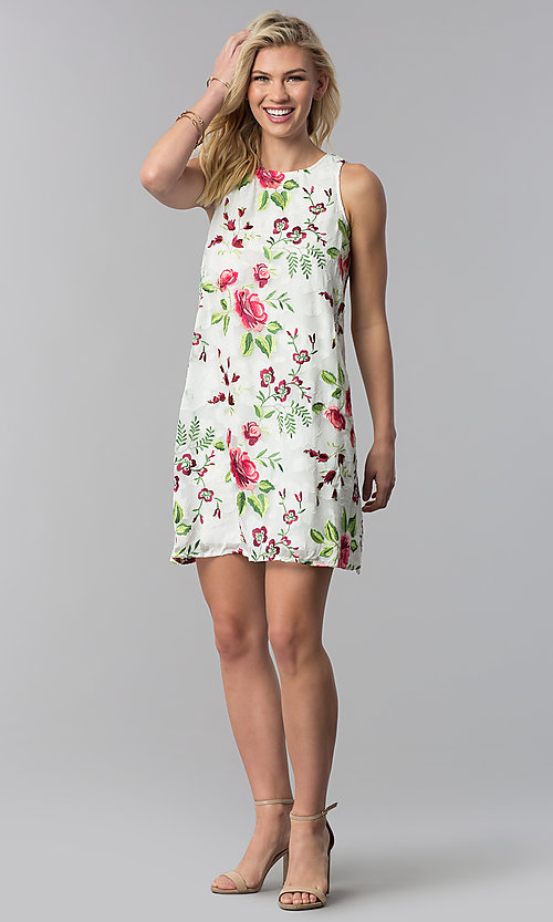 Image of embroidered short shift party dress. Style: ECI-518935-8250NL Detail Image 3