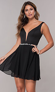 Image of short deep-illusion-inset v-neck homecoming dress. Style: FB-PL-GS1601 Front Image