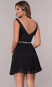 Image of short deep-illusion-inset v-neck homecoming dress. Style: FB-PL-GS1601 Back Image