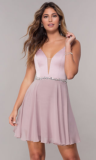 Short Deep-Illusion-Inset V-Neck Homecoming Dress
