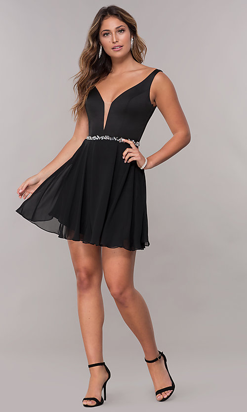 Image of short deep-illusion-inset v-neck homecoming dress. Style: FB-PL-GS1601 Detail Image 2