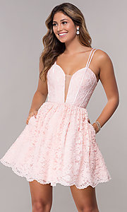 Image of homecoming short lace dress with scalloped hem. Style: FB-GS1602 Front Image