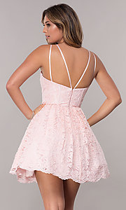 Image of homecoming short lace dress with scalloped hem. Style: FB-GS1602 Back Image
