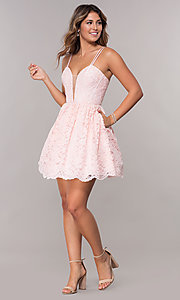 Image of homecoming short lace dress with scalloped hem. Style: FB-GS1602 Detail Image 2