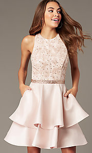 Image of short tiered-skirt homecoming dress with sequins. Style: FB-GS1603 Front Image