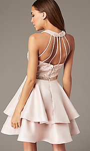 Image of short tiered-skirt homecoming dress with sequins. Style: FB-GS1603 Back Image