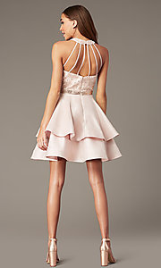 Image of short tiered-skirt homecoming dress with sequins. Style: FB-GS1603 Detail Image 2
