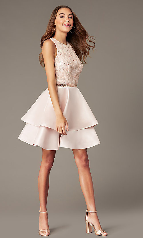 Image of short tiered-skirt homecoming dress with sequins. Style: FB-GS1603 Detail Image 1