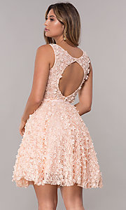 Image of 3-D-floral-applique short lace homecoming dress. Style: FB-GS1604 Back Image