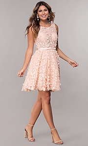 Image of 3-D-floral-applique short lace homecoming dress. Style: FB-GS1604 Detail Image 3