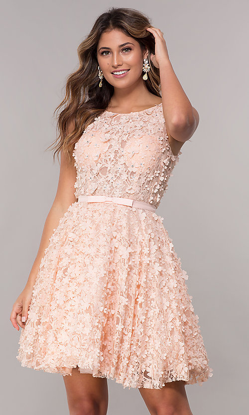 7e3916eeb73 Image of 3-D-floral-applique short lace homecoming dress. Style
