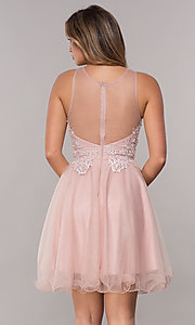Image of tulle embroidered-bodice short homecoming dress. Style: FB-GS1607 Back Image