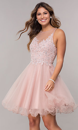 0735b101158 Tulle Embroidered-Bodice Short Homecoming Dress. Share