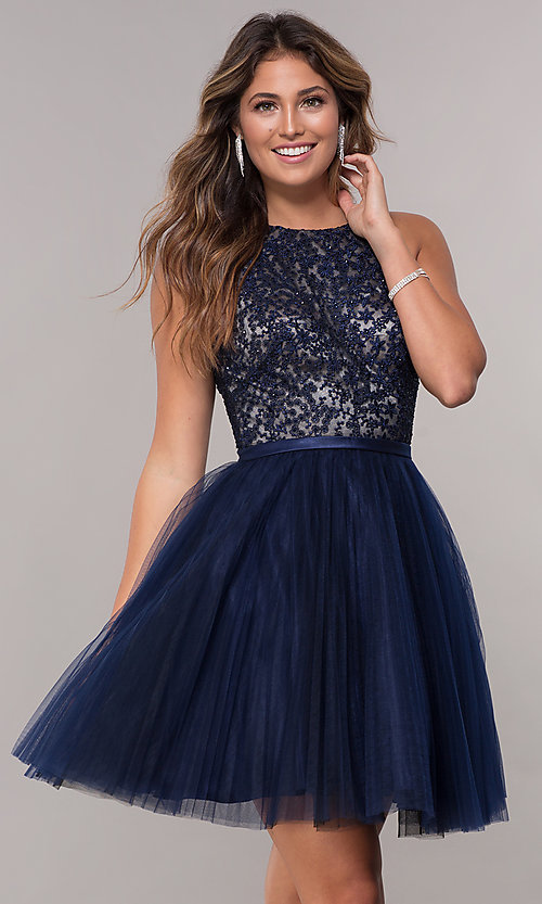 200f95faa92 Image of tulle embellished-bodice homecoming party dress. Style  FB-GS1610  Front