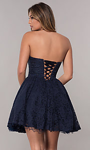 Image of corset-tie-back short strapless homecoming dress. Style: FB-GS1611 Back Image