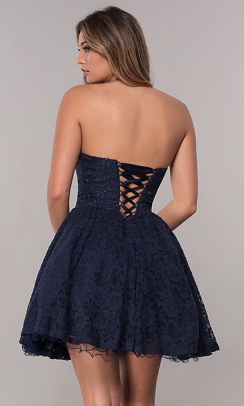 f05f6f727cbc Image of corset-tie-back short strapless homecoming dress. Style: FB-