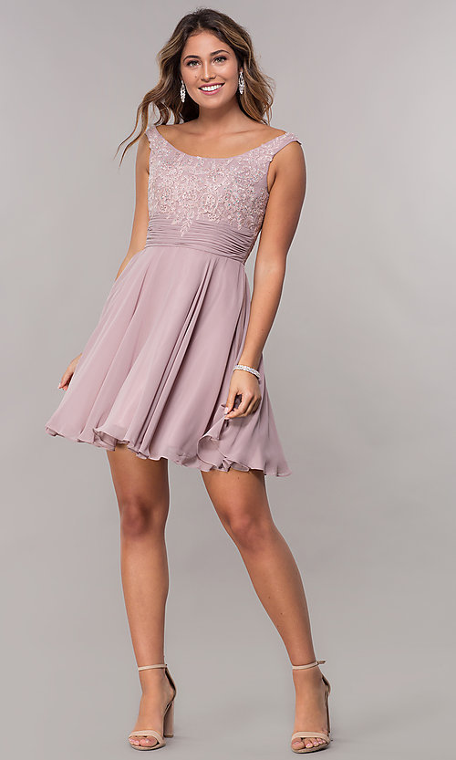 Image of ruched-waist short chiffon homecoming party dress. Style: FB-GS1612 Detail Image 2