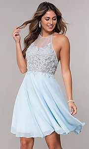 Image of short embroidered halter sky blue homecoming dress. Style: FB-GS1613 Front Image