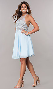 Image of short embroidered halter sky blue homecoming dress. Style: FB-GS1613 Detail Image 3