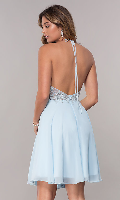 Image of short embroidered halter sky blue homecoming dress. Style: FB-GS1613 Back Image