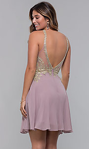 Image of short metallic-embroidered-bodice homecoming dress. Style: FB-GS1615 Back Image