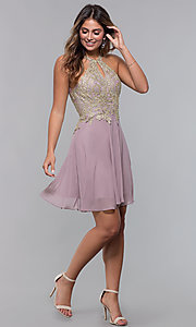 Image of short metallic-embroidered-bodice homecoming dress. Style: FB-GS1615 Detail Image 3