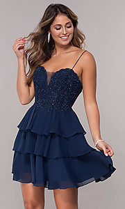 Image of short navy blue tiered-skirt homecoming party dress. Style: FB-GS1616 Front Image