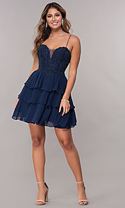 Image of short navy blue tiered-skirt homecoming party dress. Style: FB-GS1616 Detail Image 3
