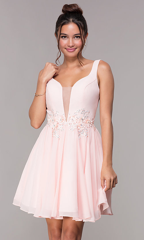 Image of short v-neck embellished-waist homecoming dress. Style: FB-GS1617 Front Image