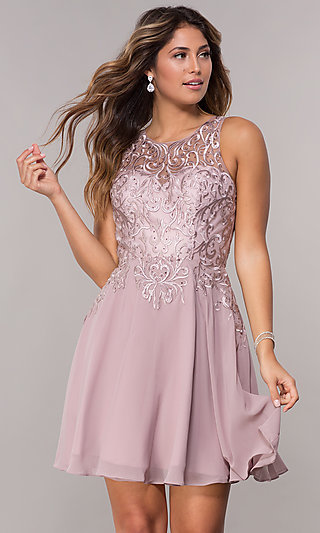 Short Chiffon Homecoming Dress with Embroidery