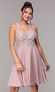 Image of illusion-bodice short mauve chiffon homecoming dress. Style: FB-GS1619 Front Image