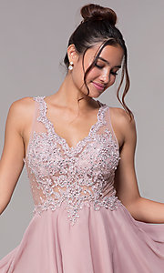 Image of illusion-bodice short mauve chiffon homecoming dress. Style: FB-GS1619 Detail Image 1