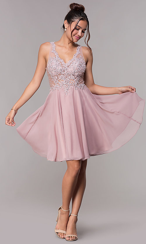 Image of illusion-bodice short mauve chiffon homecoming dress. Style: FB-GS1619 Detail Image 3