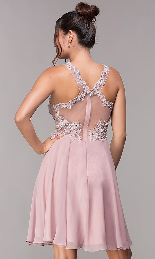Image of illusion-bodice short mauve chiffon homecoming dress. Style: FB-GS1619 Back Image