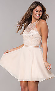 Image of short chiffon a-line halter homecoming party dress. Style: FB-GS1621 Front Image
