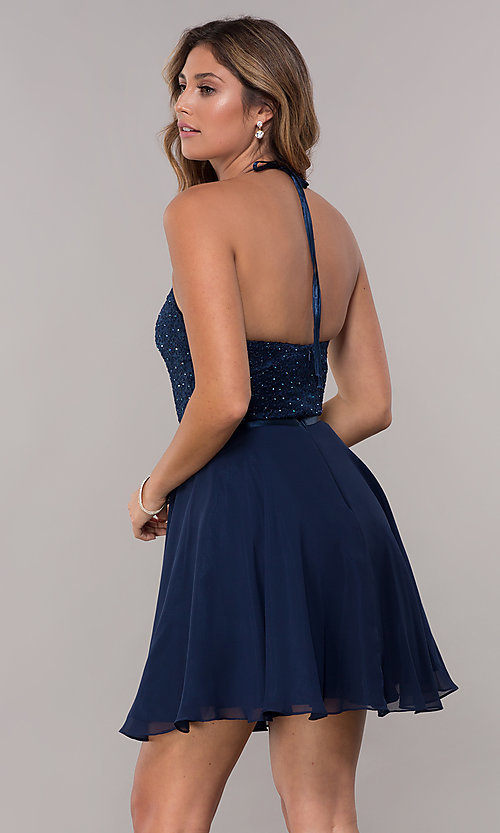 Image of short chiffon a-line halter homecoming party dress. Style: FB-GS1621 Back Image