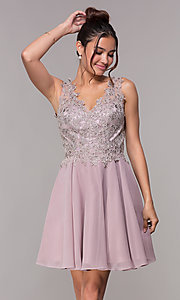 Image of embroidered-bodice short mauve homecoming dress. Style: FB-PL-GS1622 Front Image