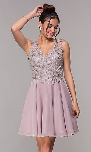 Embroidered-Bodice Short Mauve Homecoming Dress