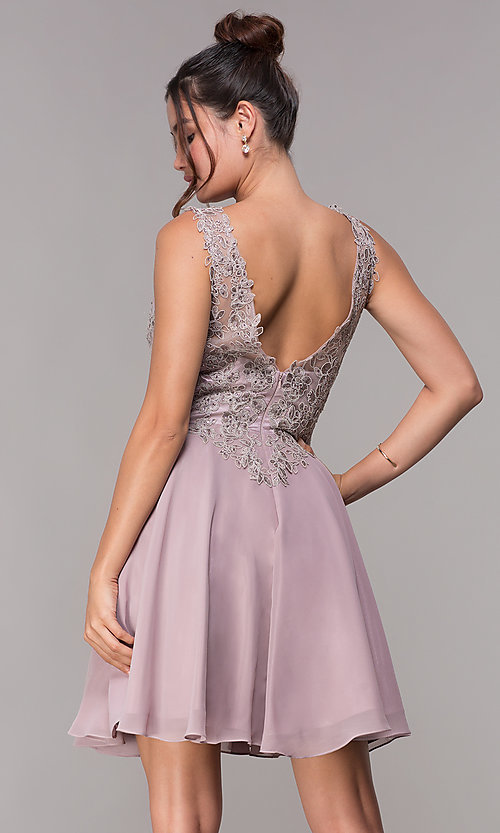 Image of embroidered-bodice short mauve homecoming dress. Style: FB-PL-GS1622 Back Image